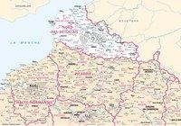 Carte du Nord-Pas-de-Calais avec les villes et les rivières