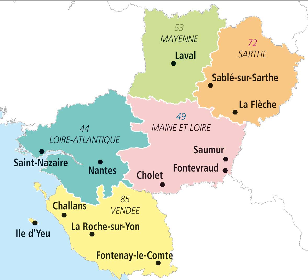 region pays de la loire carte - Photo