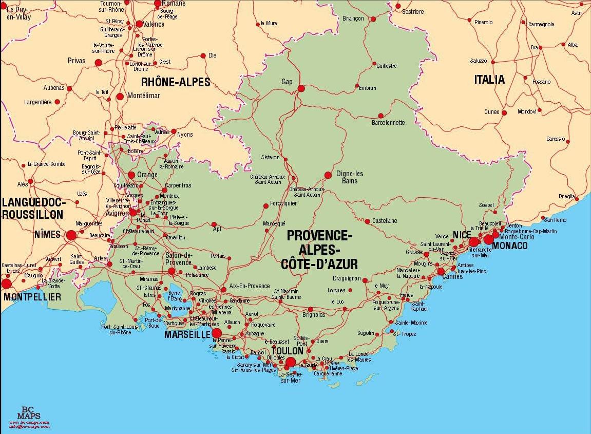 Carte Provence Alpes Cote D Azur Villes