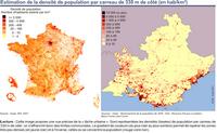 Carte de la Provence-Alpes-Côte d'Azur avec la densité de population en 2007