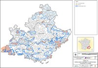 Carte de la Provence-Alpes-Côte d'Azur avec une étude de terrain pour les enjeux éolien