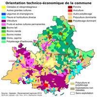 Carte de la Provence-Alpes-Côte d'Azur avec l'orientation technico-économique par commune