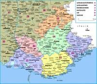 Carte de la Provence-Alpes-Côte d'Azur avec les départements et les rivières
