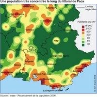Carte de la Provence-Alpes-Côte d'Azur avec la densité de population en 2006