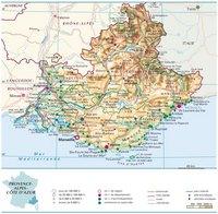 Carte de la Provence-Alpes-Côte d'Azur avec les villes, les routes, les autoroutes, les aéroports, le relief et l'altitude