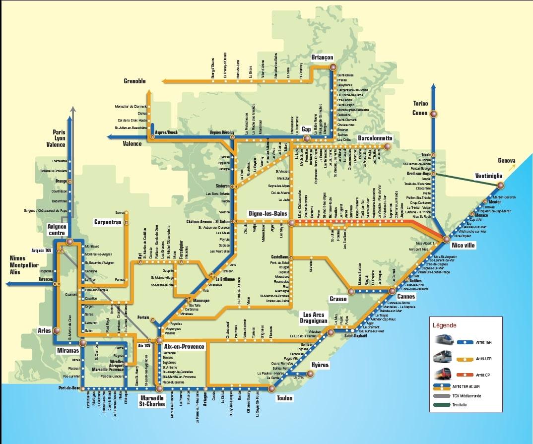 Схема транспорта по Лазурному берегу и в Монако - на автобусе в Монако