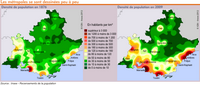 Carte du PACA avec la densité de population de 1876 à 2009