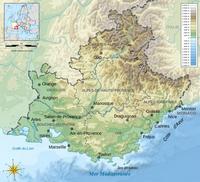 Carte de la Provence-Alpes-Côte d'Azur avec le relief et l'altitude en mètre