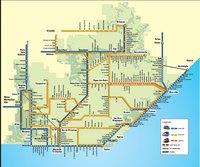 Carte de la Provence Alpes Côte d'Azur avec les trains, les TER, les LER, les TGV, les bus et les cars