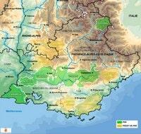 Carte de la Provence-Alpes-Côte d'Azur avec les Parcs Naturels Régionaux et les projets de PNR