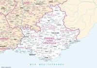 Carte de la Provence-Alpes-Côte d'Azur avec les villes et les rivières