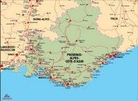 Carte de la Provence Alpes Côte d'Azur avec les villes et les routes