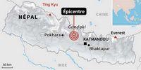 Carte du séisme au Népal avec l'épicentre