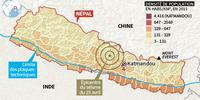 Carte du séisme au Népal avec l'épicentre et la densité de population du pays