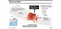 Carte séisme népal avec l'épicentre et l'estimation des secousses ressenties