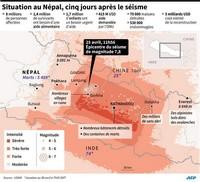 Carte du séisme au Népal avec la situation détaillée 5 jours après