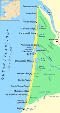 Carte de Biscarrosse et de la côte d'argent