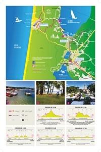 Carte de Biscarrosse avec les pistes cyclables et les informations sur le parcours