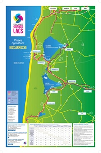Carte de Biscarrosse avec les pistes cyclables et le tableau des distances