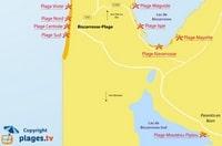 Carte de Biscarrosse avec les plages