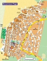Carte de Biscarrosse avec les plages, les rues et les parkings