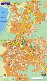 Plan de Biscarrosse l'hotel de ville et les stades