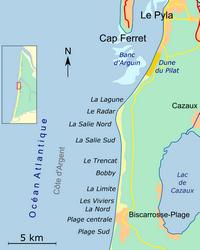 Carte de Biscarrosse avec les spots de surf