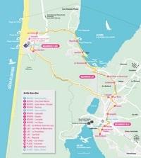 Carte de Biscarrosse avec les transports en commun, les arrets de bus Bisca Bus