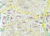 Carte du centre de Madrid avec les monuments importants, les places et les quartiers