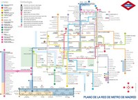 Carte de Madrid et des transports en commun, grand plan du métro en détail