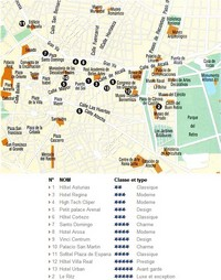 Carte de Madrid avec les hôtels en plein centre