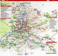 Carte de Madrid avec les différents moyens de transport