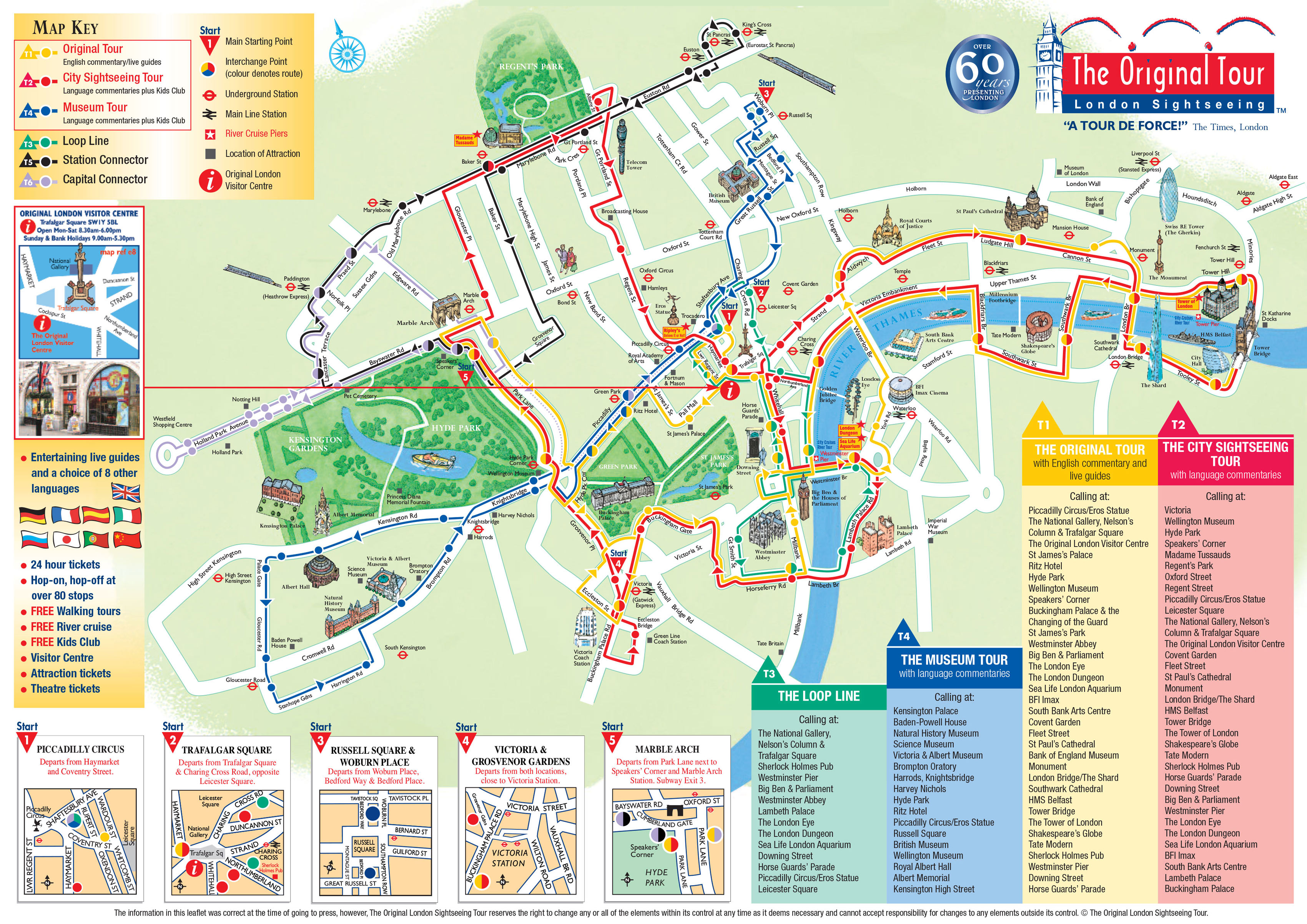 Carte De Londres Avec Le Plan Du Bus Touristique The Original Tour