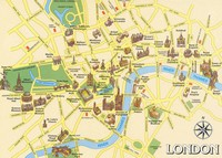Carte de Londres avec les monuments importants